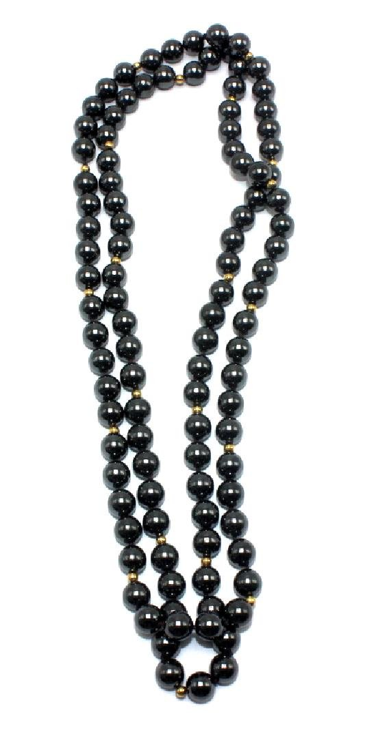 Hematite and Gold Rondelle Beaded Necklace