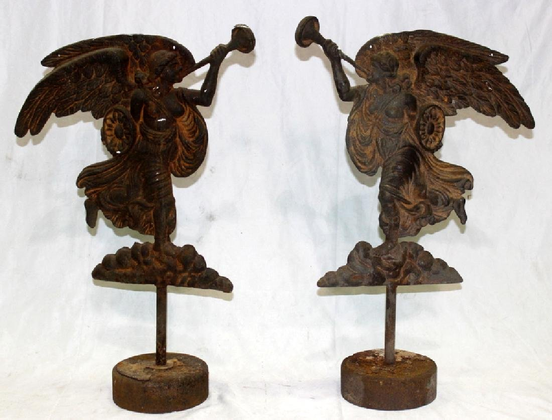 Antique American Iron Door Stop of Angels