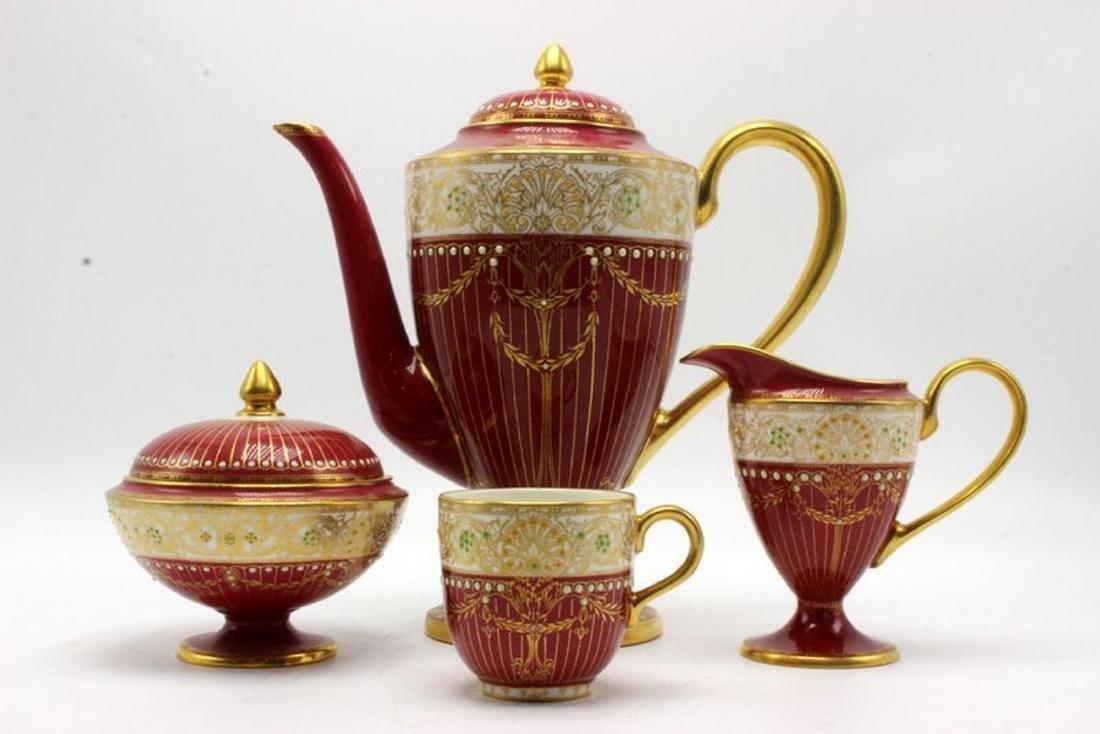 11 pc. Royal Worchester Hand Painted Porcelain Tea Set