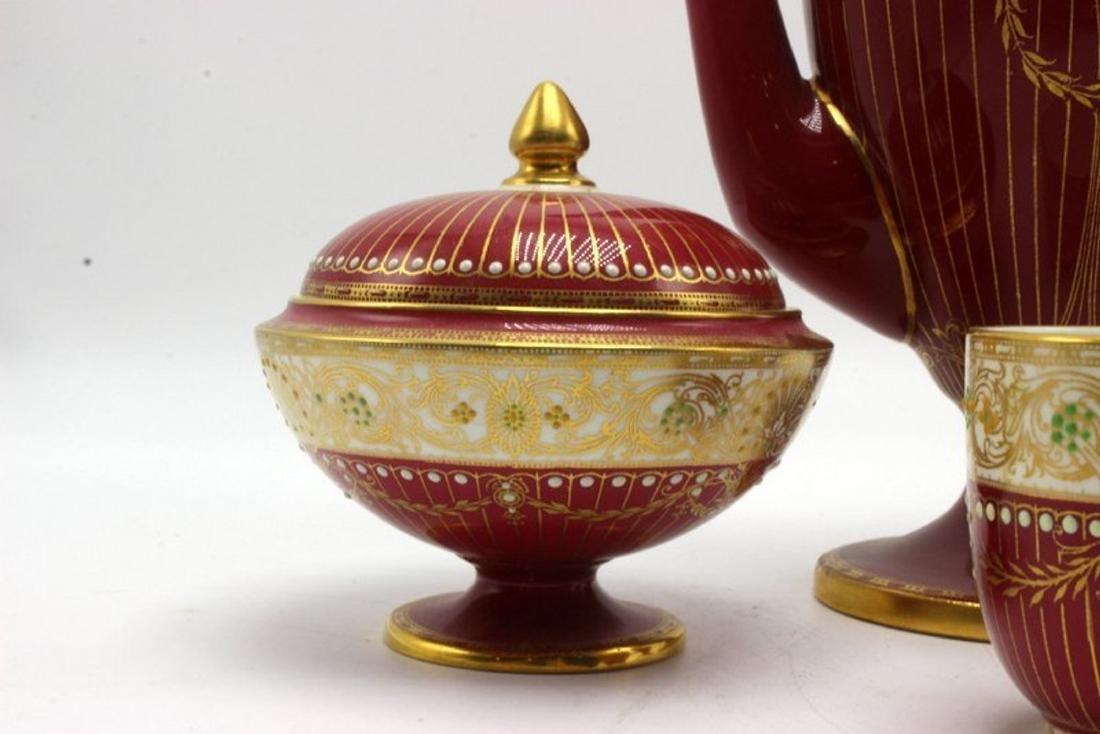 11 pc. Royal Worchester Hand Painted Porcelain Tea Set - 2