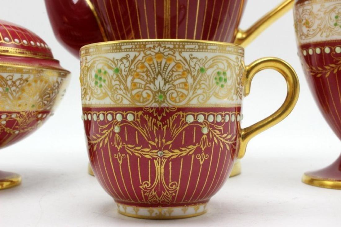 11 pc. Royal Worchester Hand Painted Porcelain Tea Set - 3