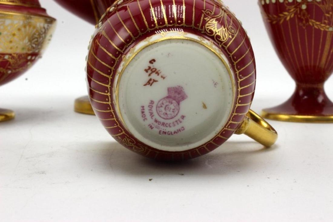 11 pc. Royal Worchester Hand Painted Porcelain Tea Set - 4
