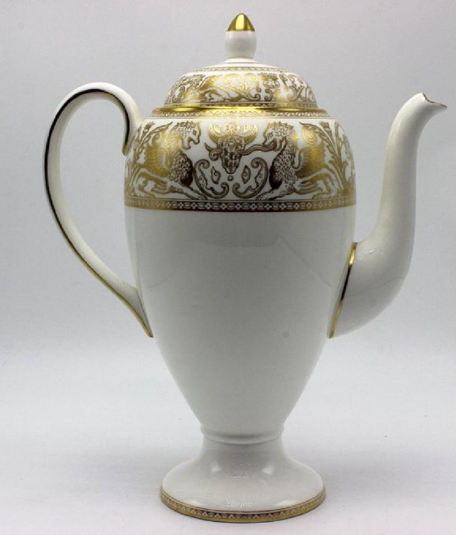 "Wedgwood ""Gold Florentine"" Porcelain Coffee Pot"