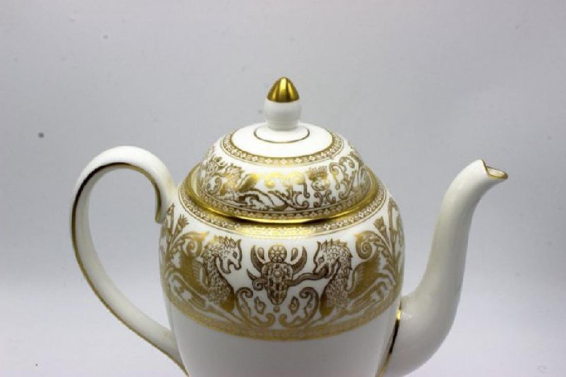 "Wedgwood ""Gold Florentine"" Porcelain Coffee Pot - 2"