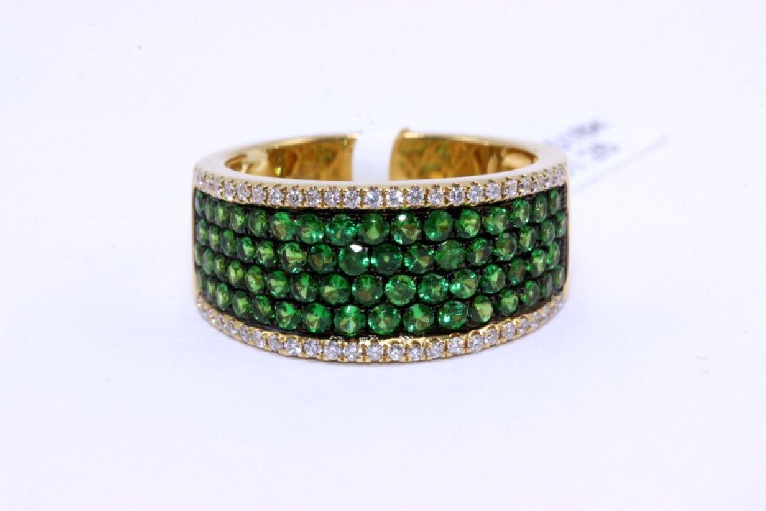18Kt YG, 0.20ct. Diamond & 1.26ct. Tsavorite Ring