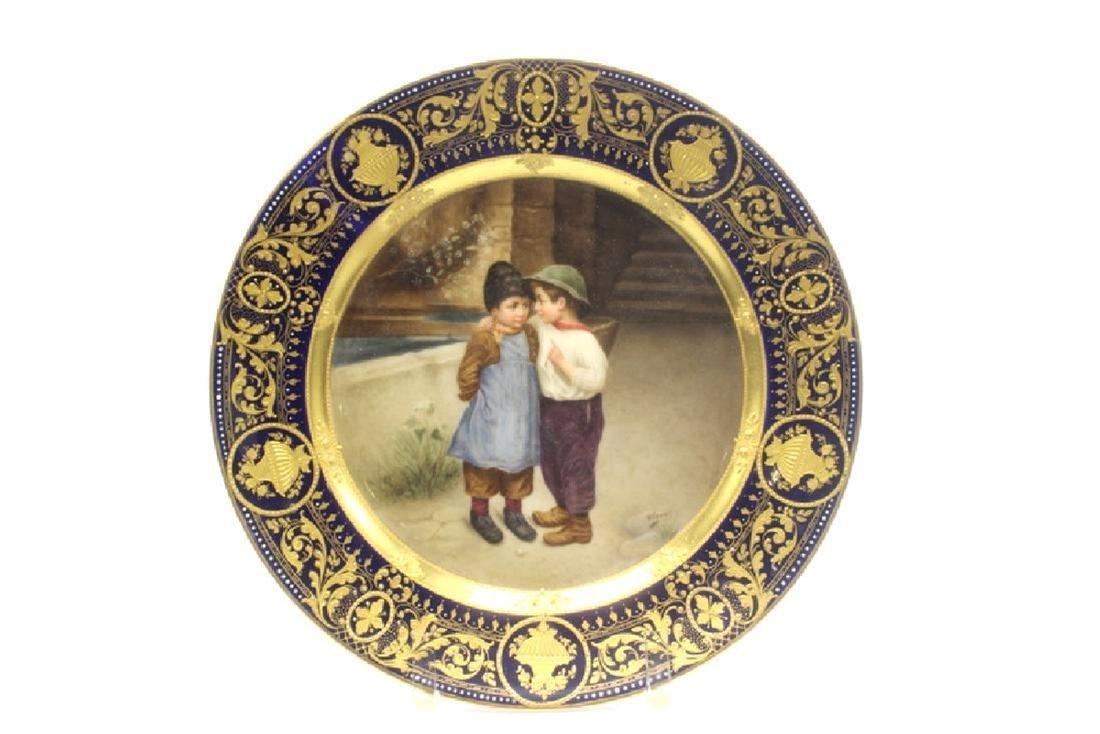 Royal Vienna Porcelain Plate Signed Wagner