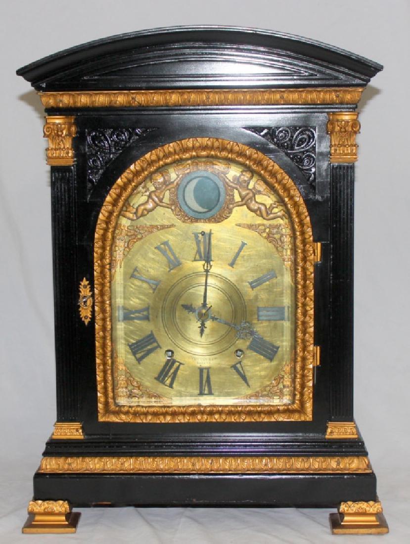 Antique English Bracket Moon phase Clock - 2