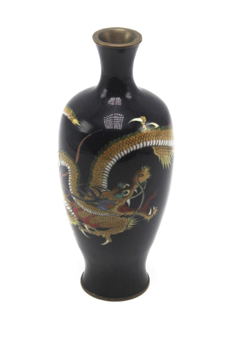 Pair of Antique Japanese Cloisonne Dragon Vases