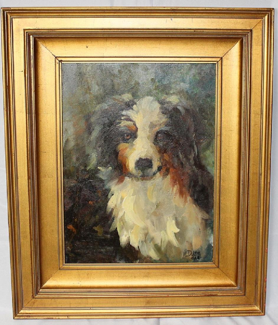 """D. Lee """"Aussie"""" Study of a Dog Oil on Canvas Signed"""