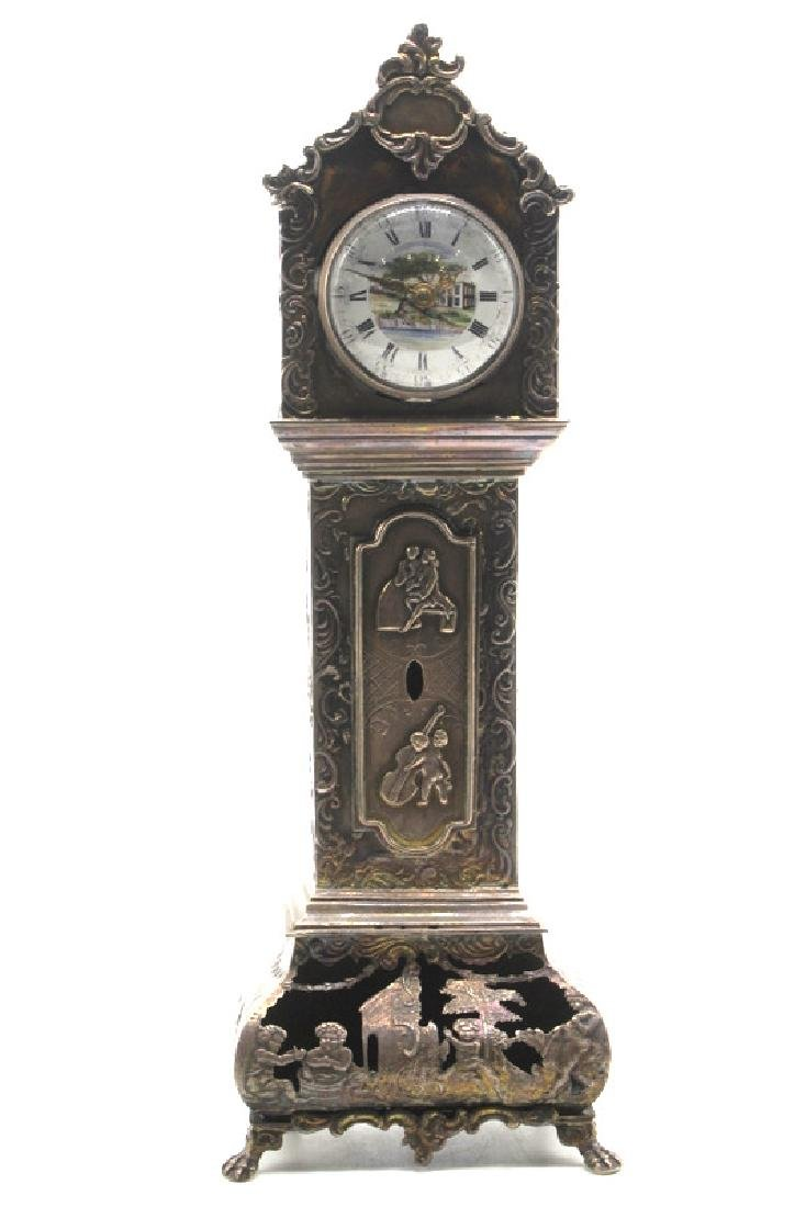 Antique European Miniature Silver Grandfather Clock