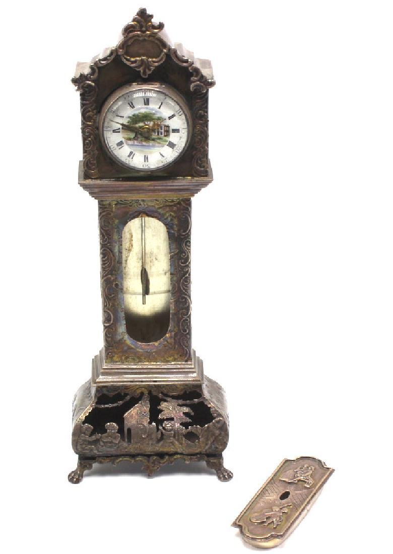 Antique European Miniature Silver Grandfather Clock - 7