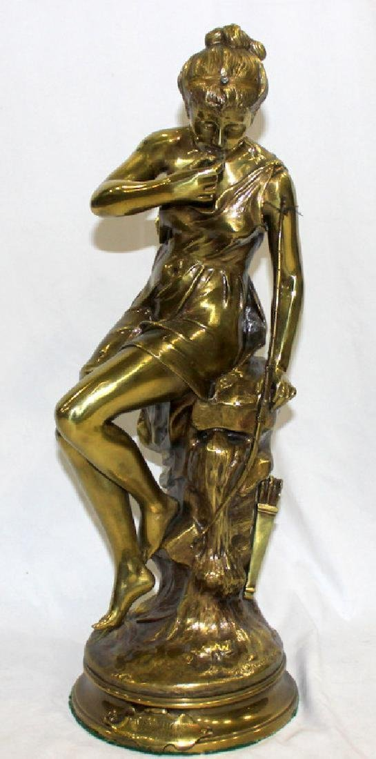 Antique French Dore Bronze Figure of a Girl