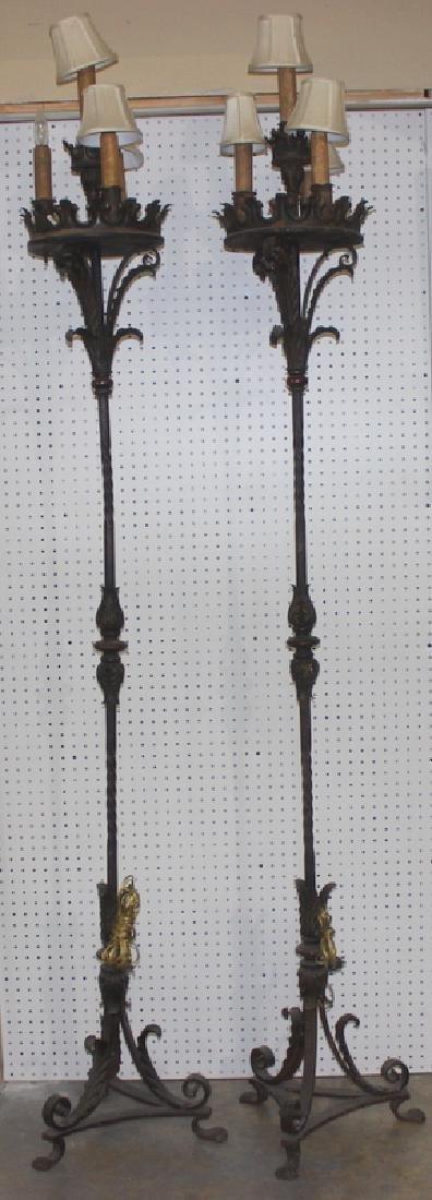 Pair of Antique Mizner Wrought Iron Torches
