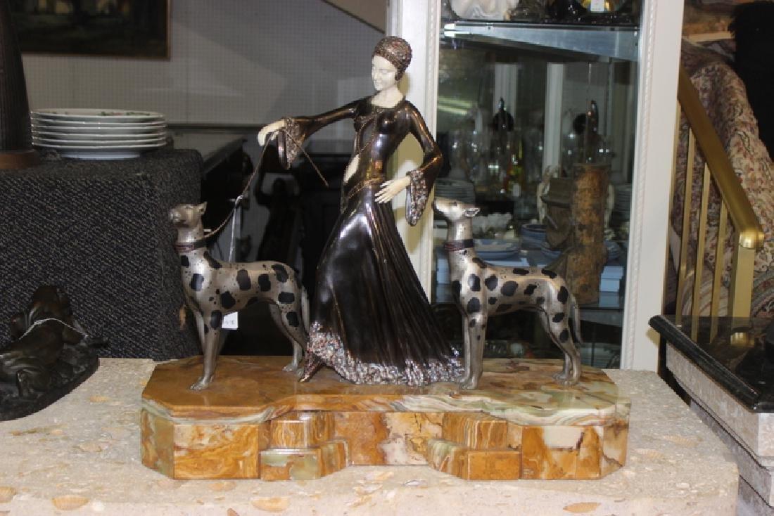 Godet Bronze & Inlaid Figure