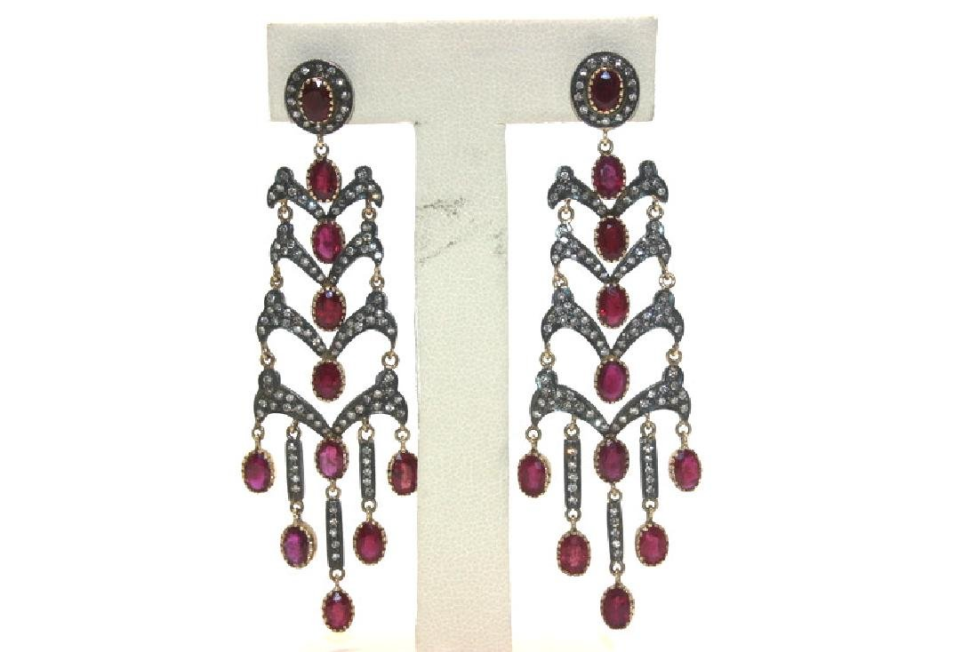 Pair of Antique Indian 4.00ct Ruby & 1.00ct Diamond