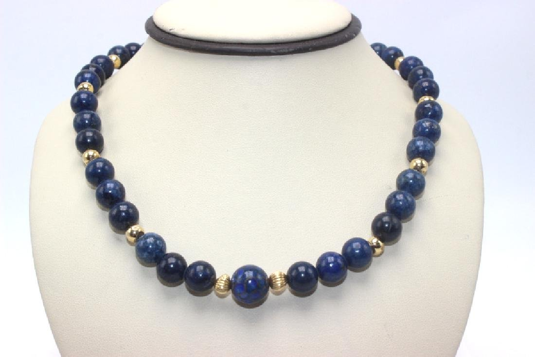 Lapis Lazuli and 14Kt Gold Rondelle Necklace