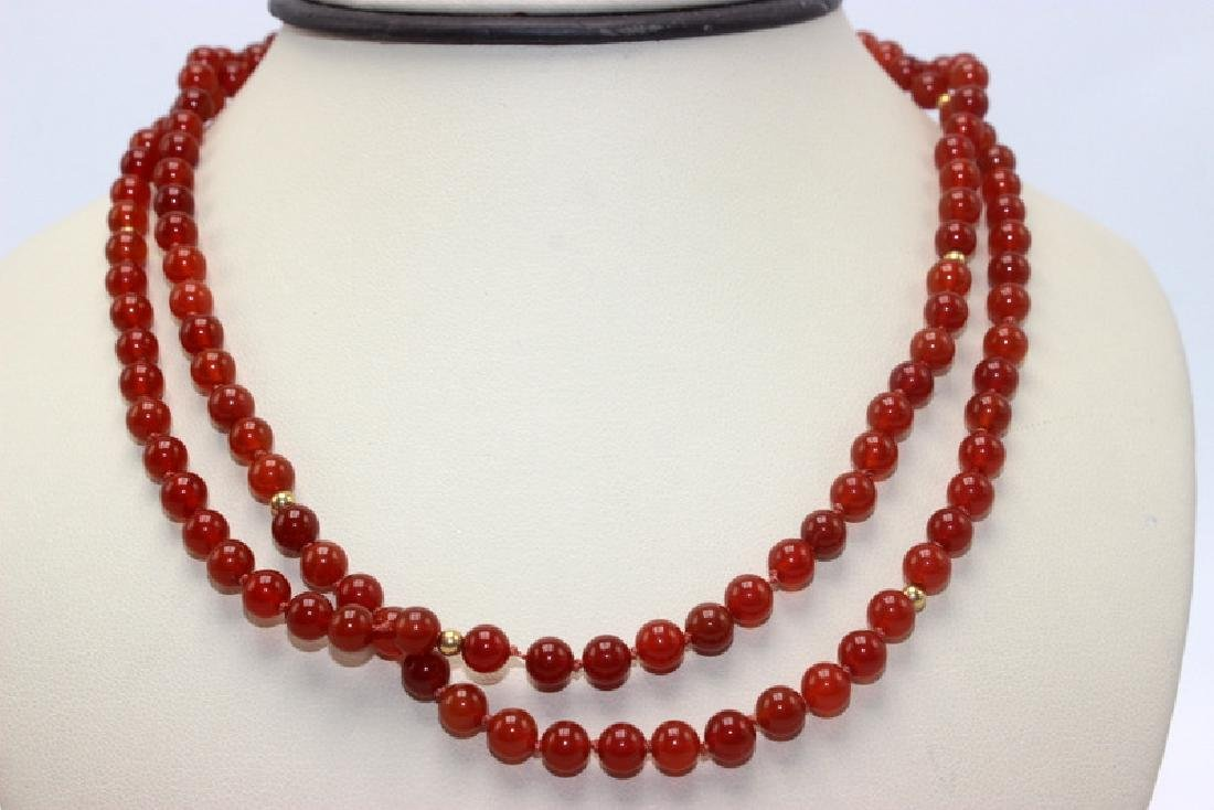 Carnelian & Gold Rondelle Beaded Necklace