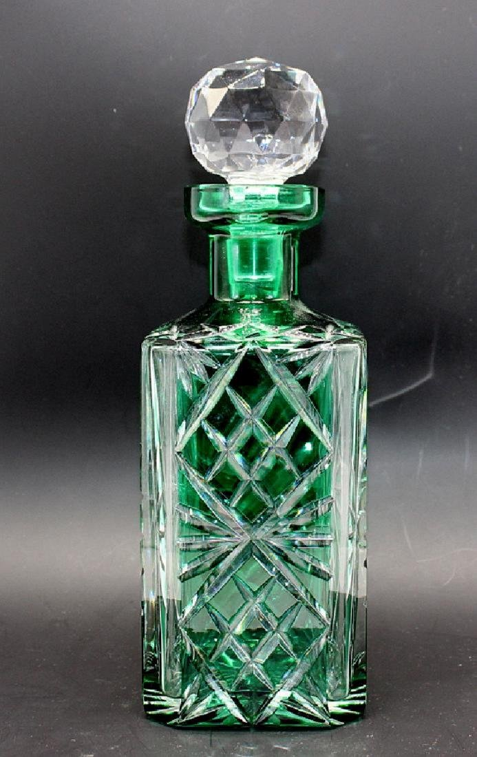 Green to Clear Cut Glass Decanter & Stopper