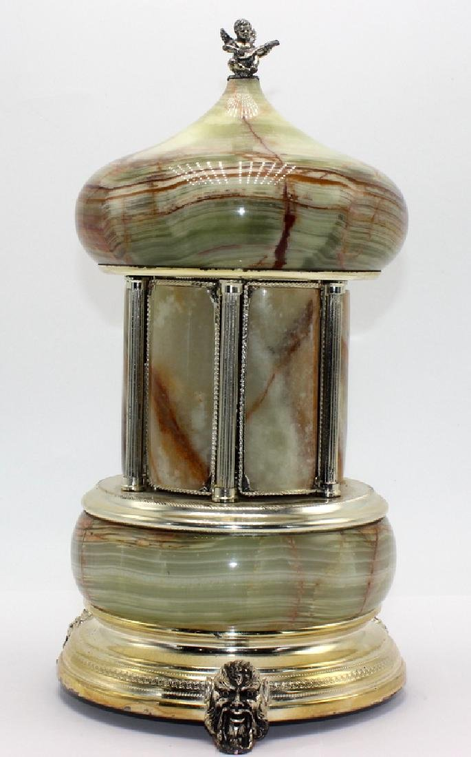 Italian Musical Onyx Cigarette Caddy, Swiss Music Box.