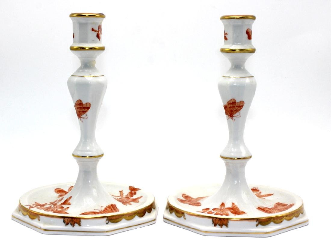 "Pair of Herend ""Chinese Bouquet"" Rust Candlesticks"