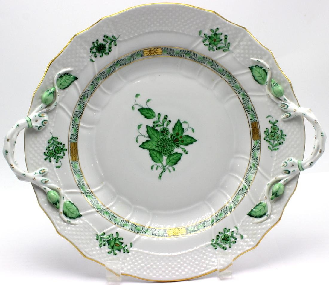 """Herend """"Chinese Bouquet"""" Green Cake Plate"""