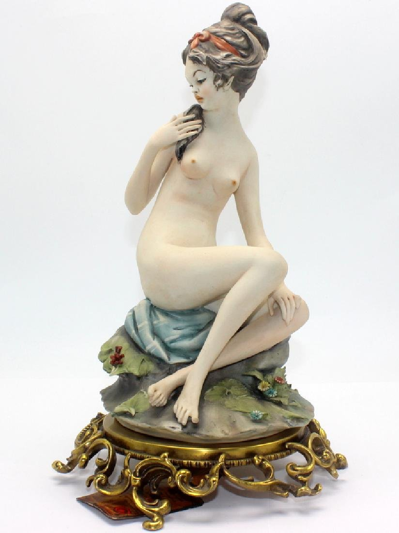Capo Di Monte Porcelain Figure of Girl on Bronze Base