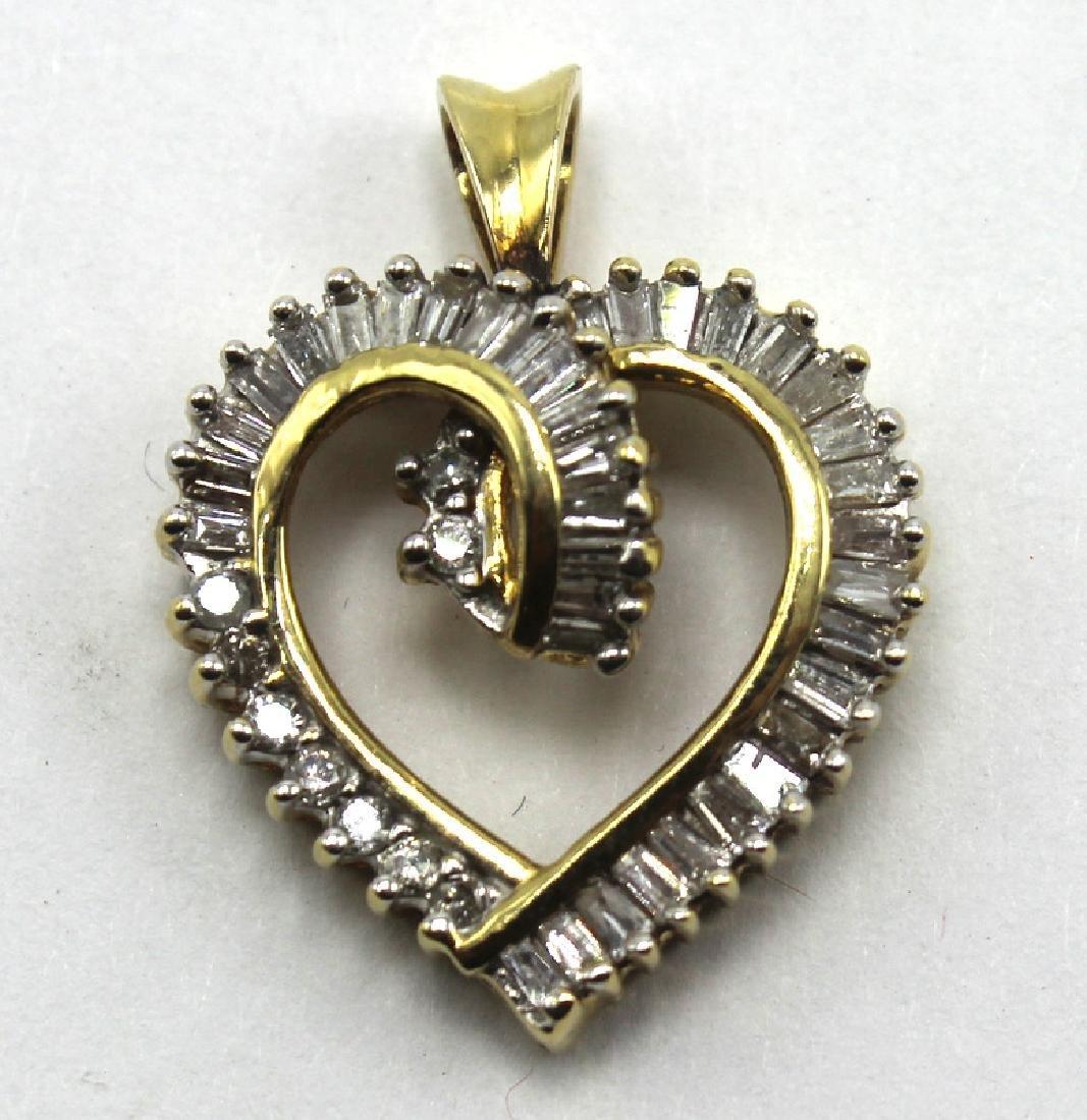 14Kt YG, Approx. .50-.75ct Diamond Heart Pendant