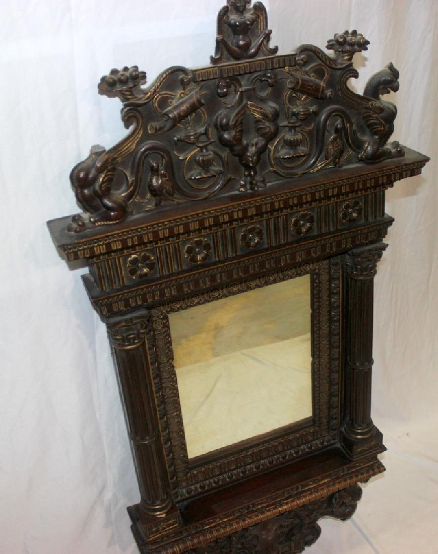 Antique Hand Carved Hanging Mirror - 3