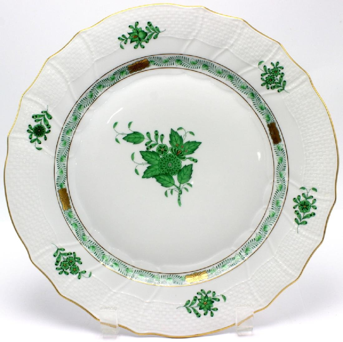 """Herend """"Chinese Bouquet"""" Green Dinner Plate"""