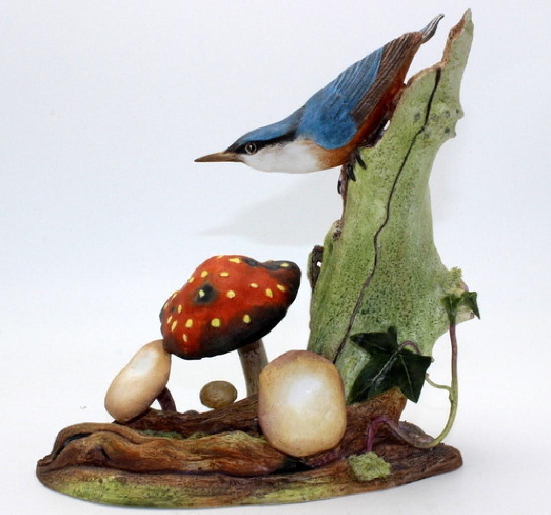 """Boehm """"Nuthatch Mushroom"""" Porcelain Figure"""