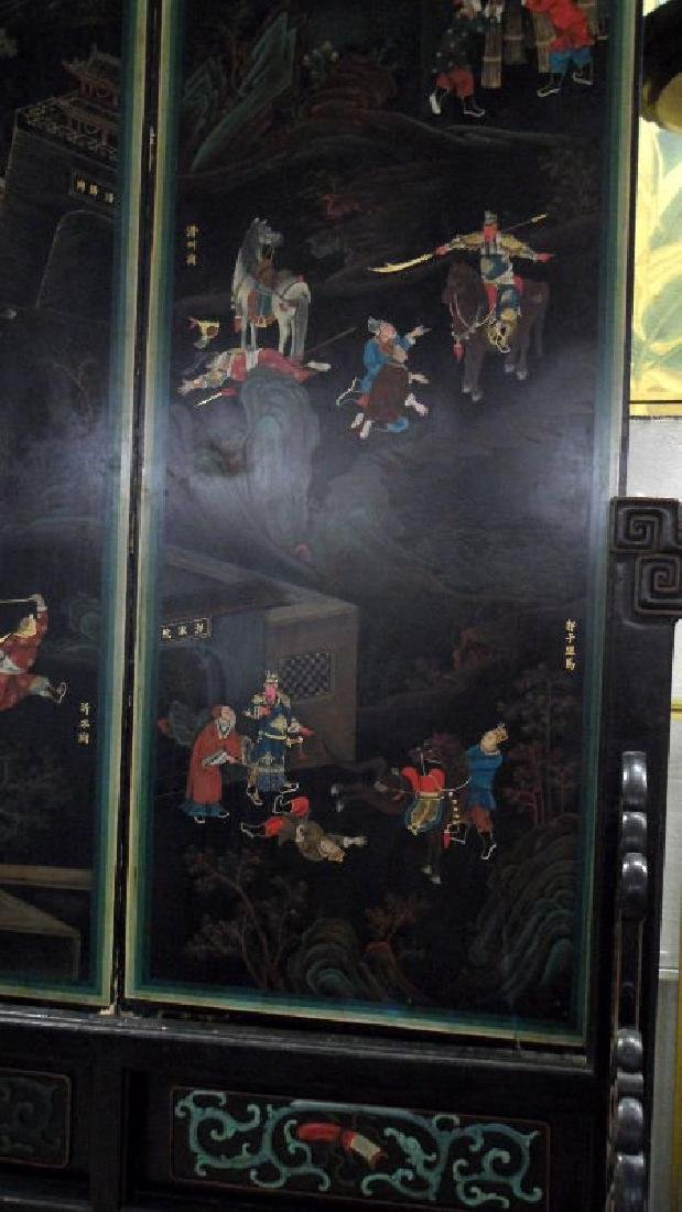 Chinese Handpainted Four-Panel Screen Depicting an - 2