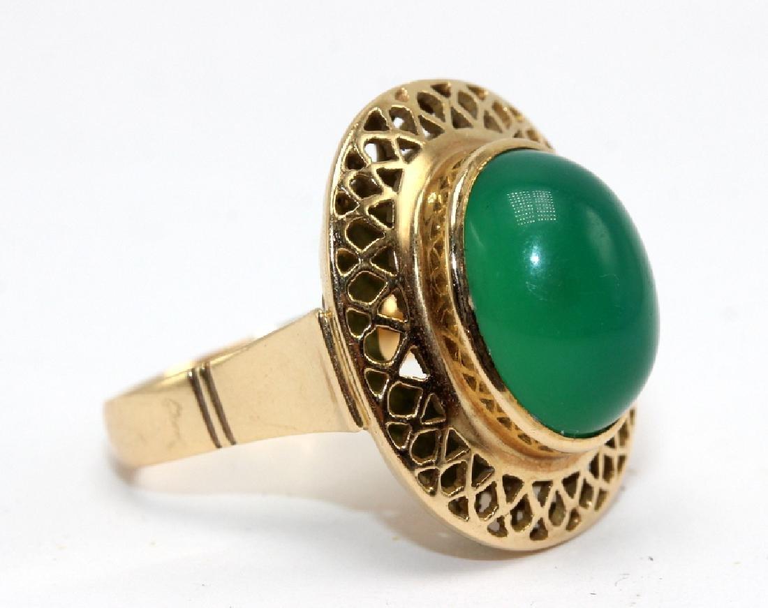 14Kt YG Jade Ring - 2