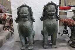 Pair of oriental bronze foodogs