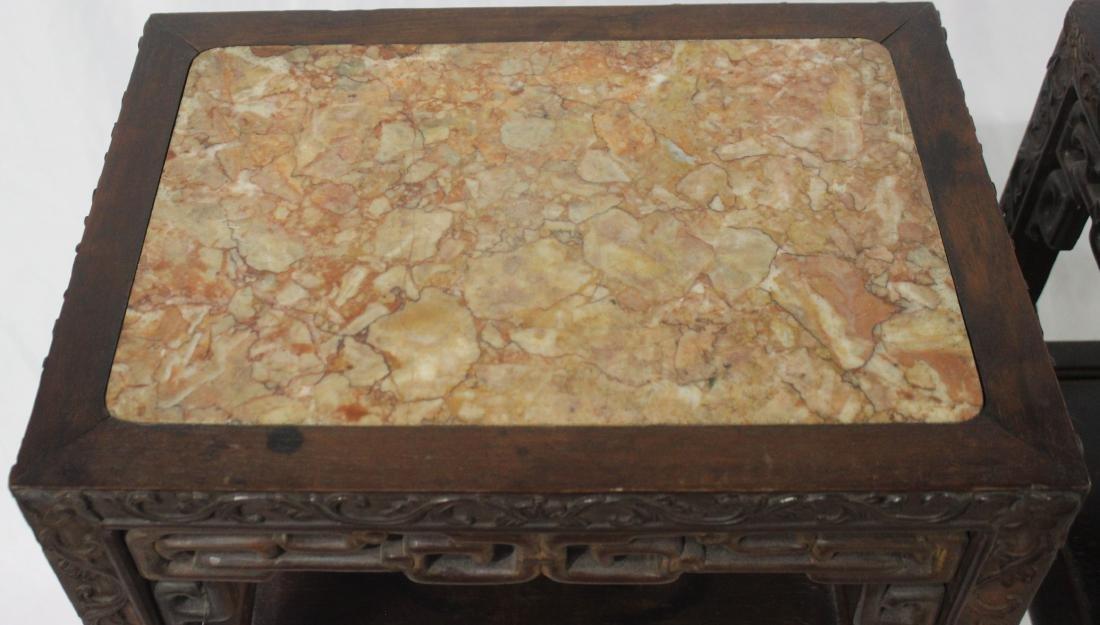 Chinese teak-wood pedestal - 2