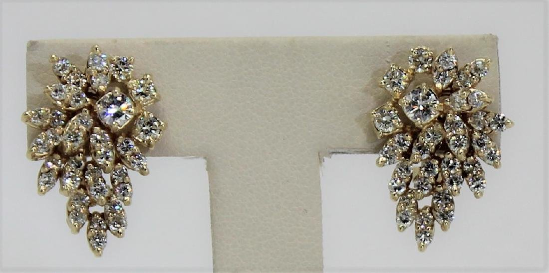 14K Yellow Gold & Diamond Cluster Earrings 3.00 Ct