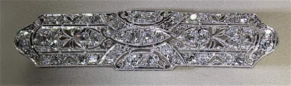Art Deco Platinum & Diamond Bar Brooch