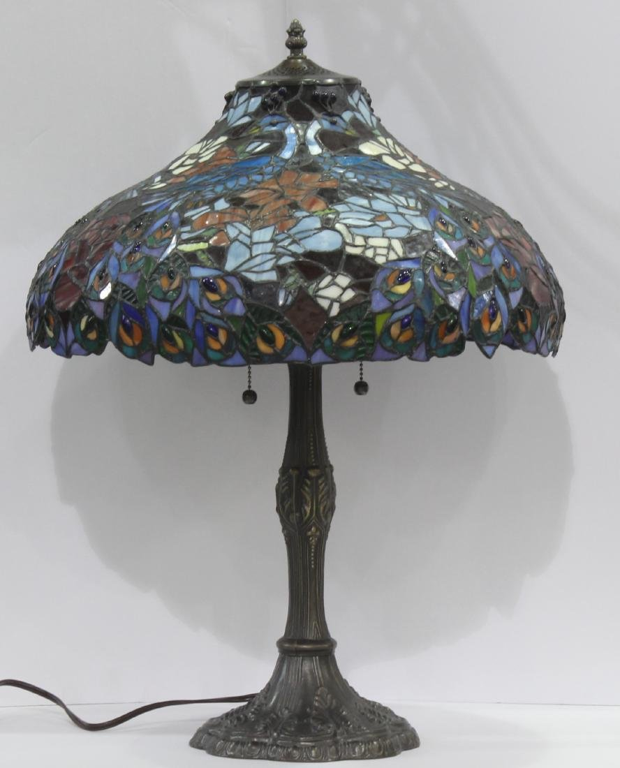 Tiffany Style Stained Glass Bronze Lamp - 2