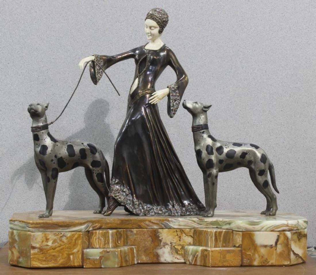 Art Deco Bronze 3 Figure inset group