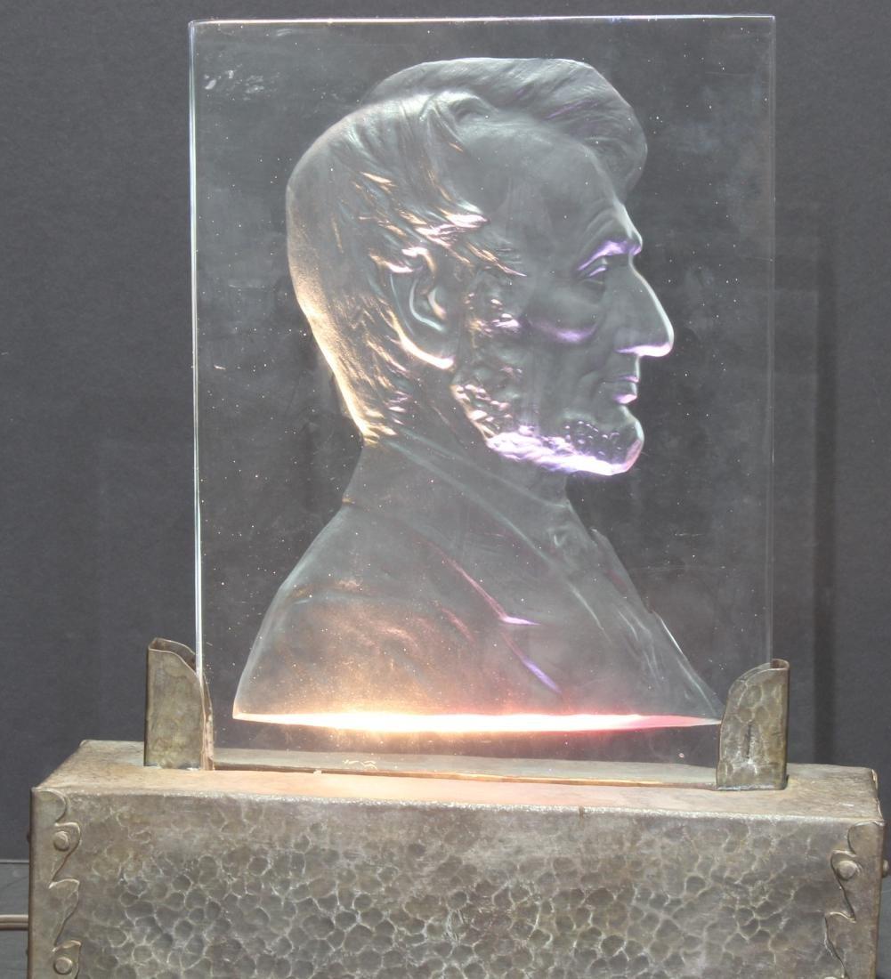 Abraham Lincoln Glass Plaque Steuben