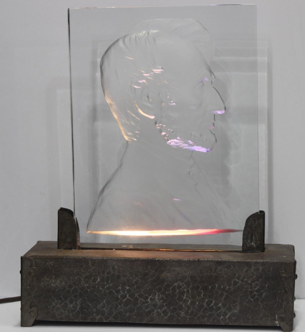 Abraham Lincoln Glass Plaque Steuben - 2