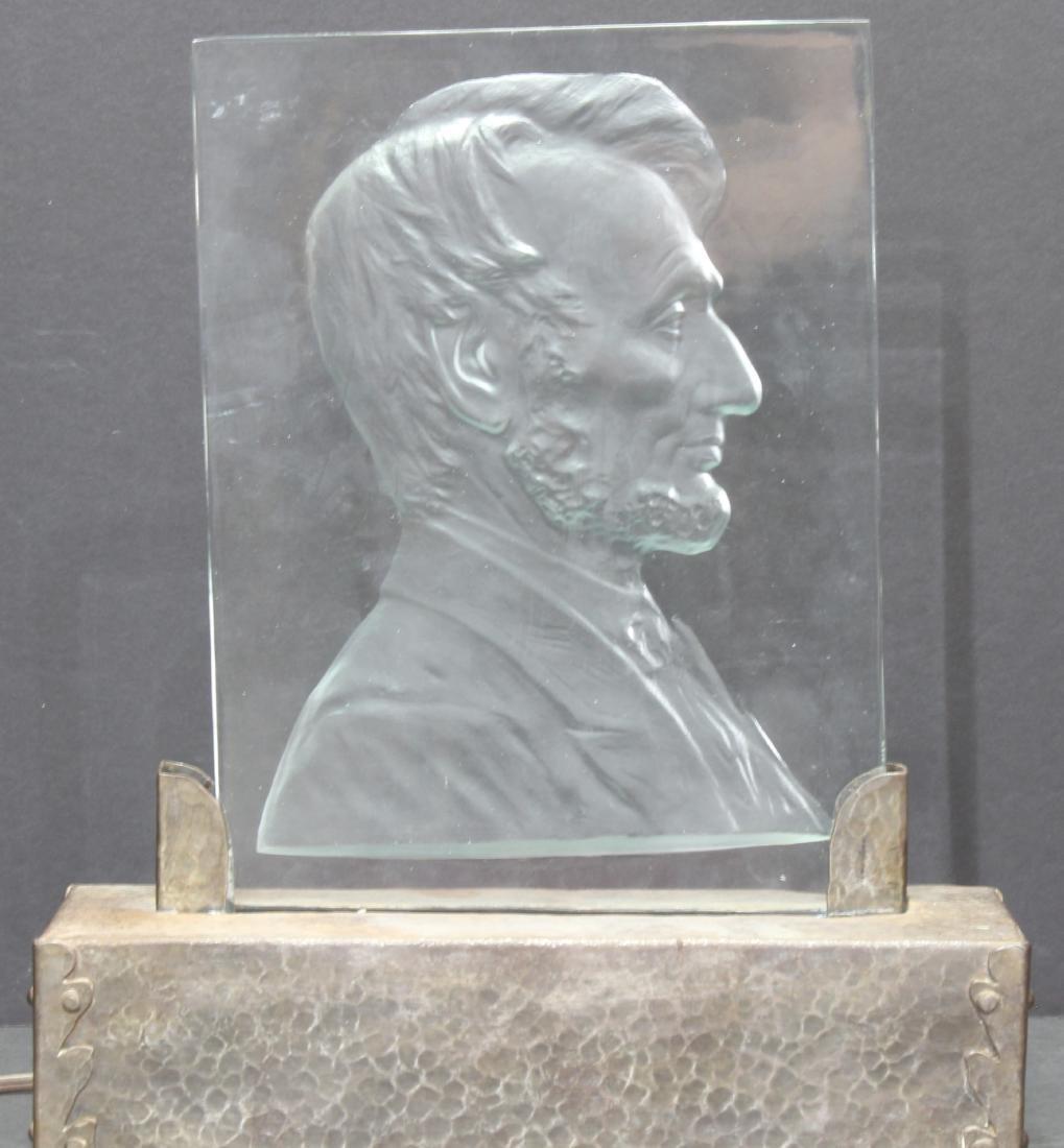 Abraham Lincoln Glass Plaque Steuben - 3