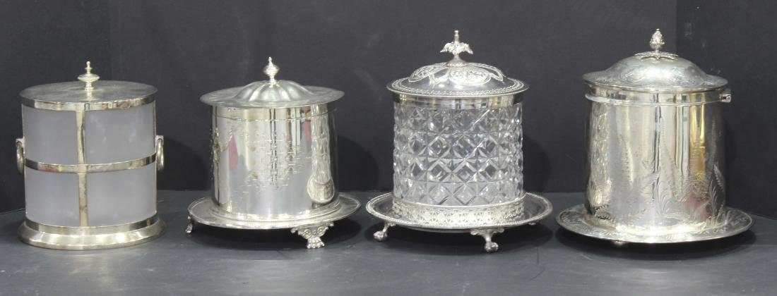 4 Piece  Antique English Silver Plate  Cut Crystal