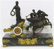 Antique French Empire Dore Bronze Figural Horse Clock