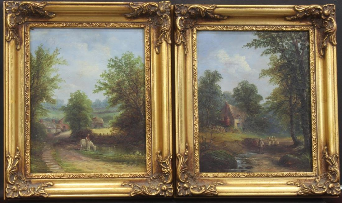 Pair of Antique gold leaf oil Paintings by J. Mellor