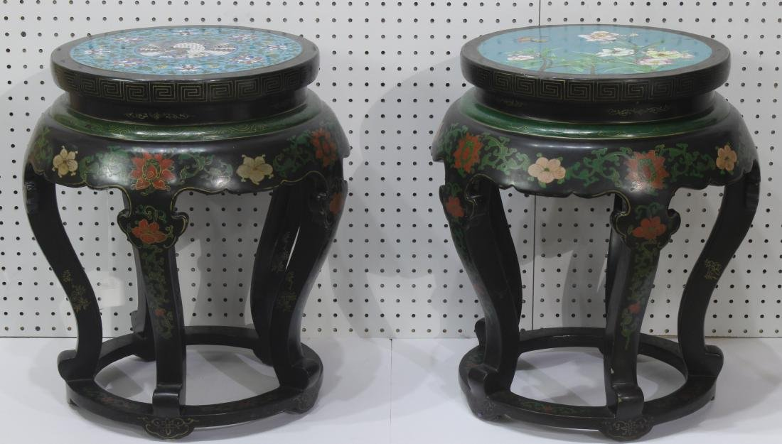 Pair of Chinese Cloisonne and hand decorated lacquered