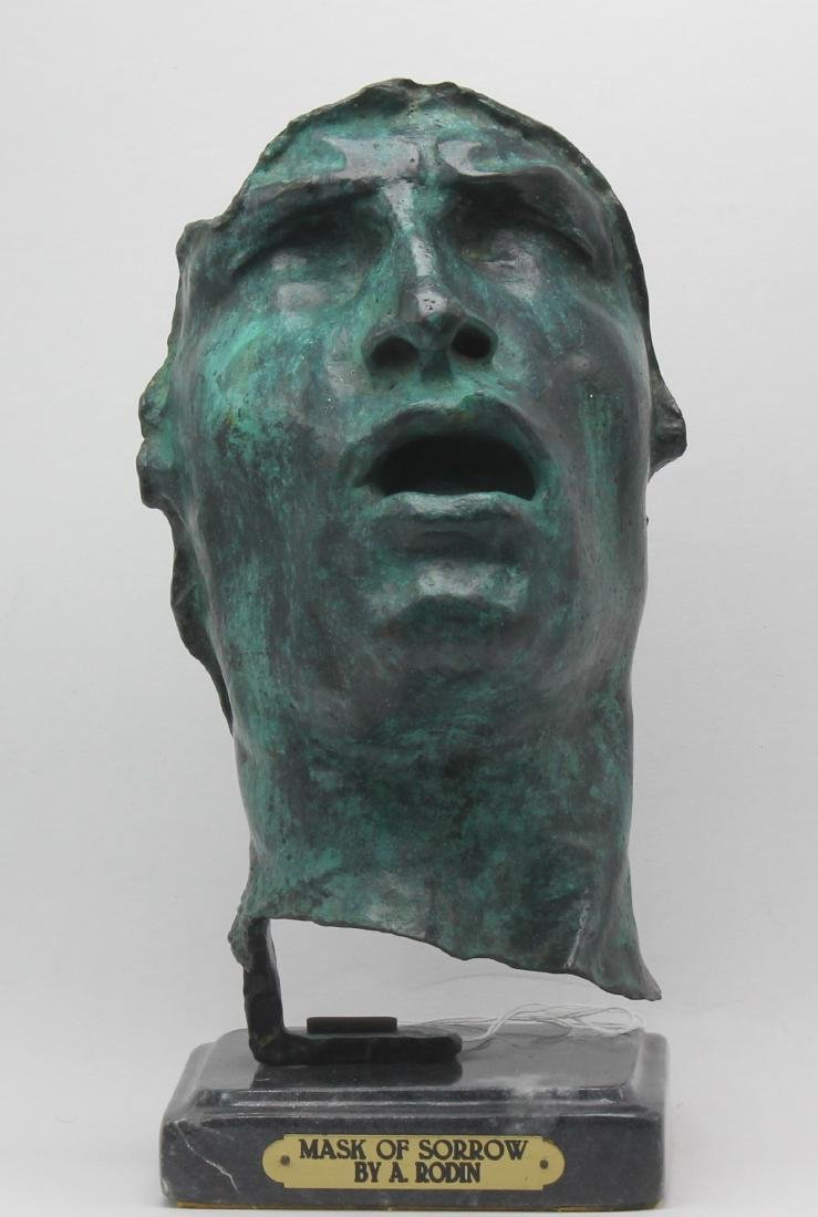 A Bronze Tilted Mask of sorrow A. Rodin