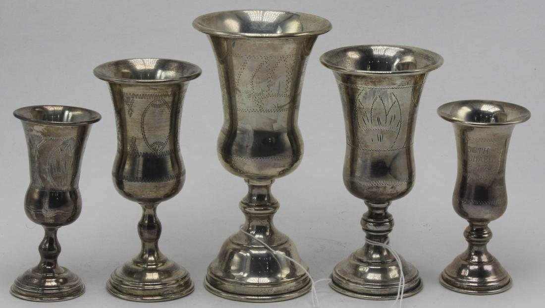 5 Sterling Silver Kiddish Cups
