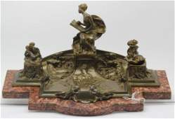 Antique French Art Nouveau Bronze Figural Inkwell