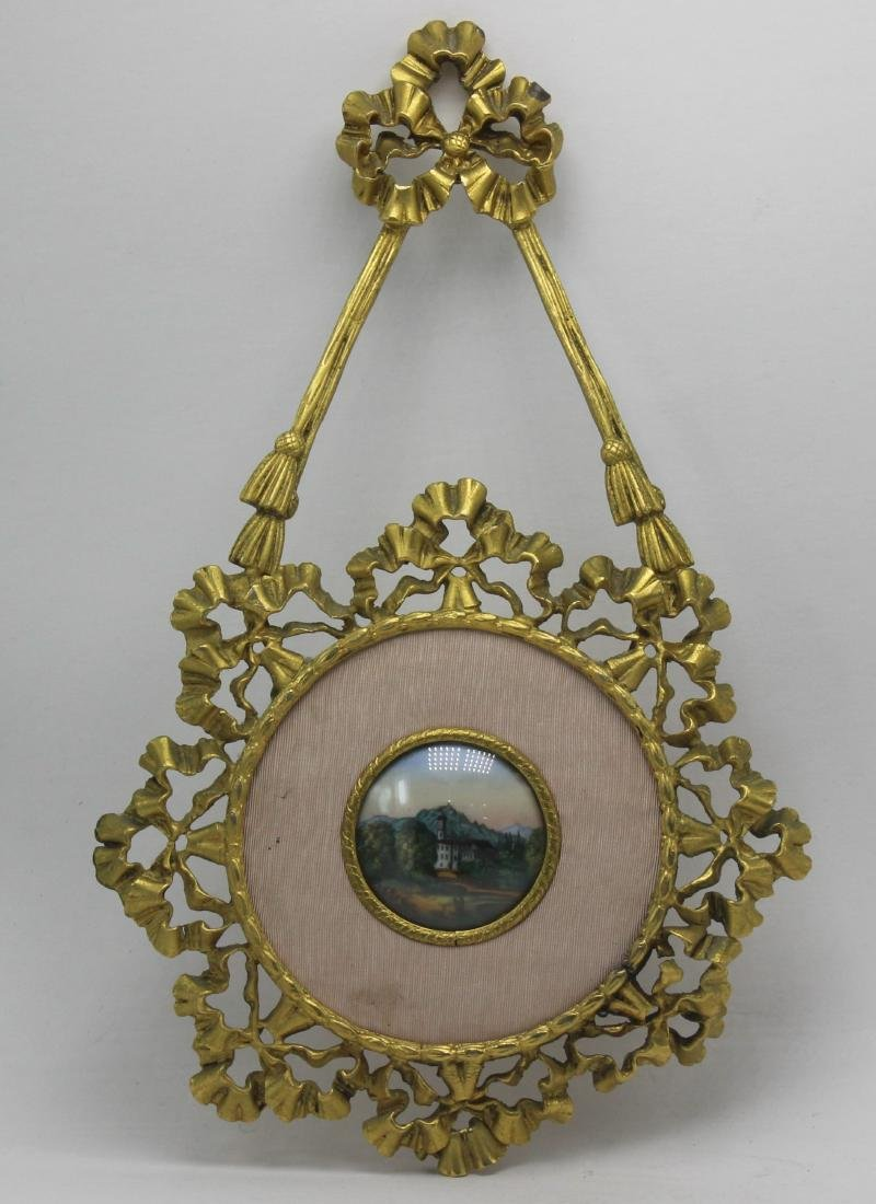 Antique French Bronze and Porcelain Miniature Frame