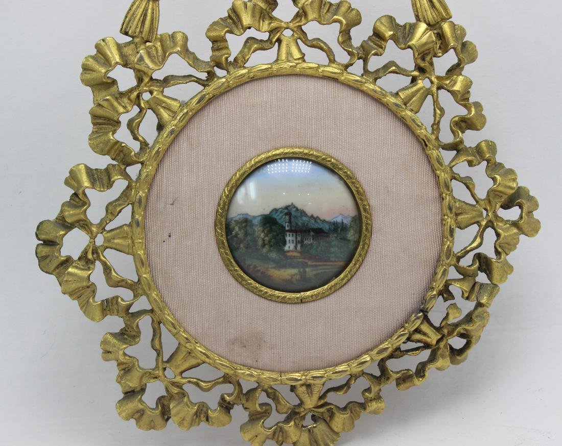 Antique French Bronze and Porcelain Miniature Frame - 2